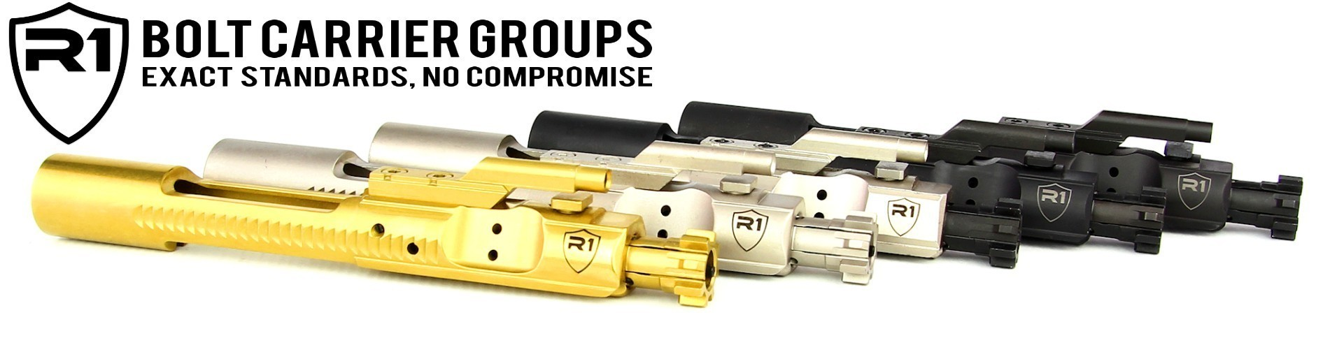 R1 Tactical Complete Bolt Carrier Groups - Titanium Nitride (TiN) Nickel Boron (NiB) Phosphate Chrome Lined BCG