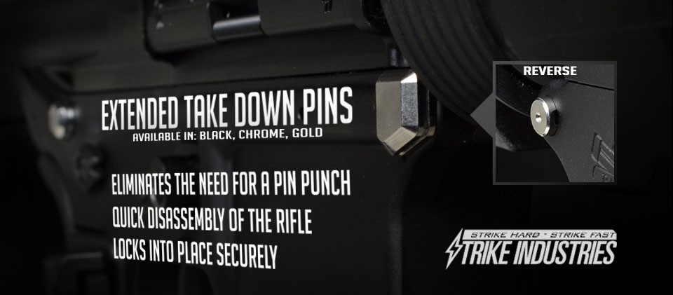 Strike Industries AR-15 Extended Pivot / Takedown Pins | R1 Tactical