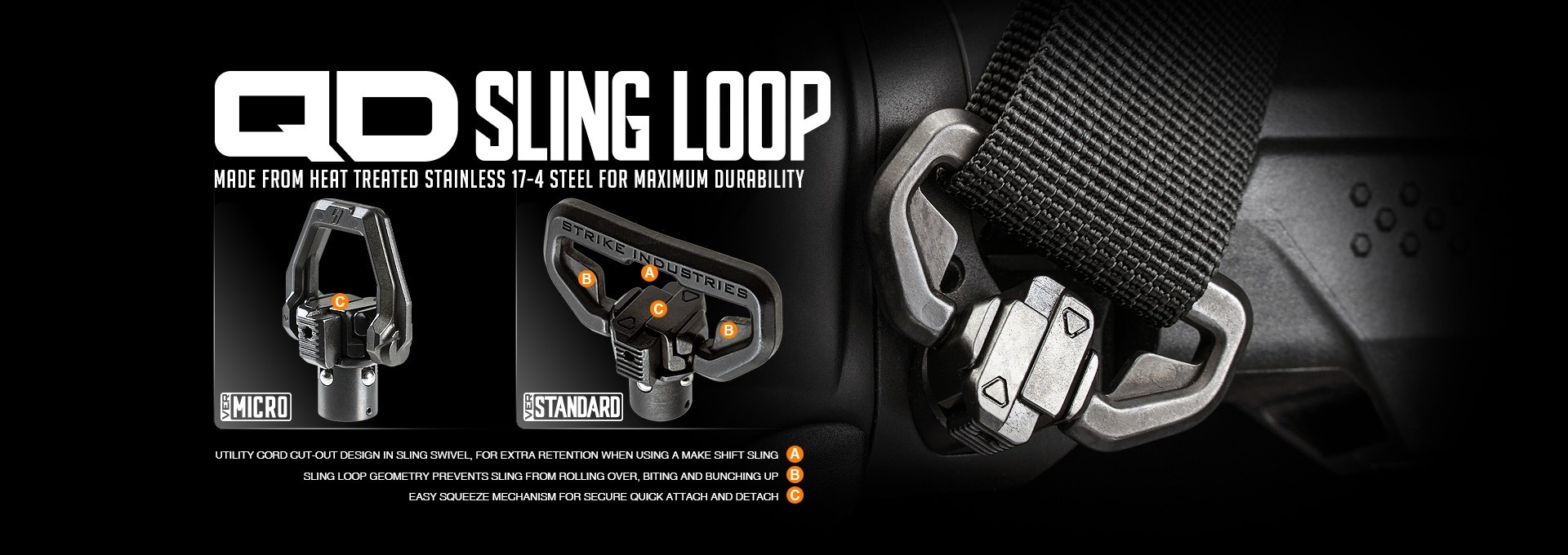 Strike Industries Quick Detach Sling Loop Standard Micro SI-QDSL | Redcon1 Tactical