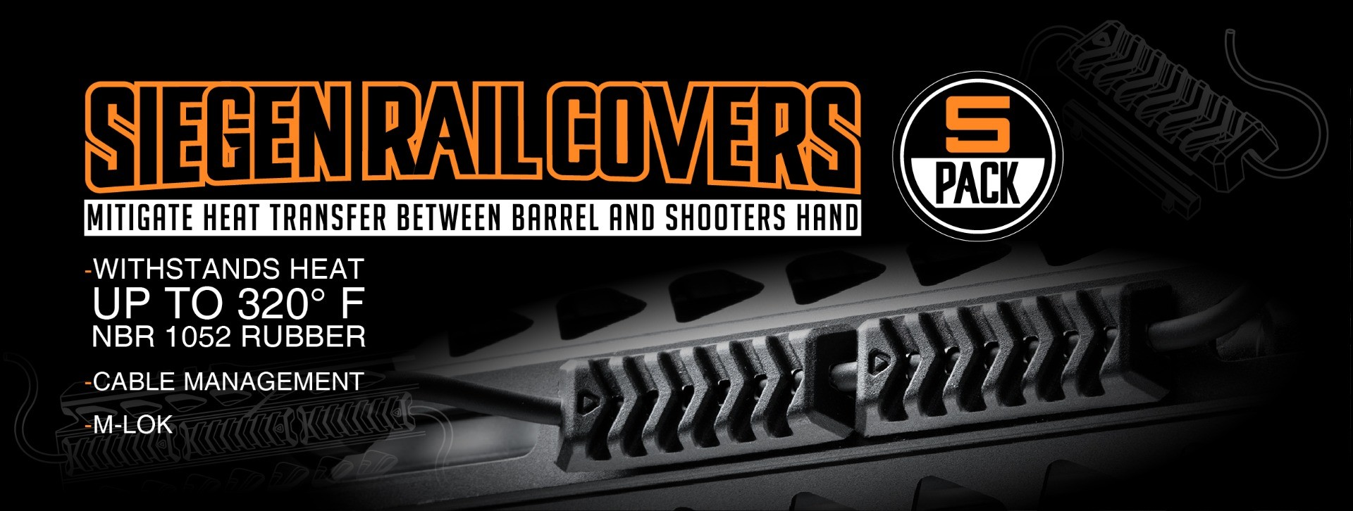 Strike Industries SIEGEN Rail Covers - Black (5-pack) | Redcon1 Tactical