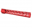 "Guntec USA 15"" AIR-LOK Series M-LOK Compression Free Floating Handguard Monolithic Top Rail (Gen 2) - Anodized Red"