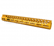 "Guntec USA 15"" Ultra Lightweight Thin M-LOK System Free Floating Handguard Monolithic Top Rail - Anodized Gold"