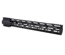 "Guntec USA 15"" AIR-LOK Series M-LOK Compression Free Floating Handguard Monolithic Top Rail (Gen 2) - Anodized Black"