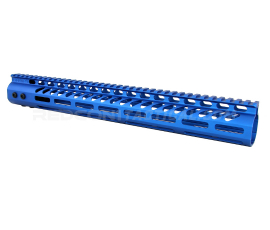 "Guntec USA 15"" Ultra Lightweight Thin M-LOK System Free Floating Handguard Monolithic Top Rail - Anodized Blue"