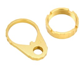 R1 Tactical Lightweight Aluminum QD End Plate and Castle Nut - Gold