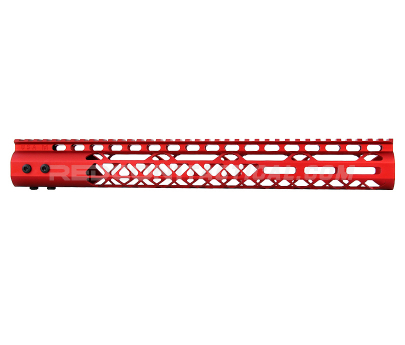 "Guntec USA 15"" Air Lite Series M-LOK Free Floating Handguard Monolithic Top Rail - Anodized Red"