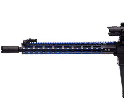"Leapers UTG PRO M-LOK AR15 15"" Super Slim Rail - Black/Blue 2-Tone"