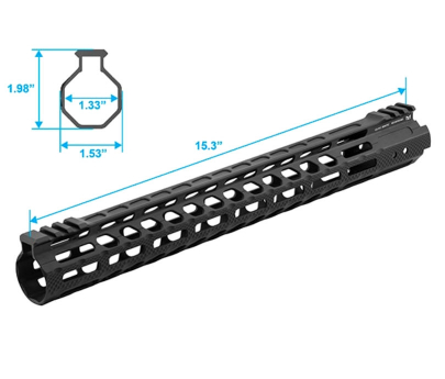 "Leapers UTG PRO M-LOK AR15 15"" Ultra Slim Free Float Handguard - Black"